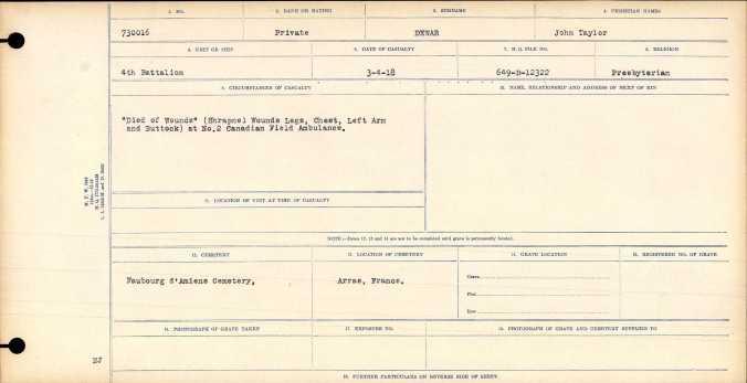 Circumstances of Casualty for John Talyor Dewar
