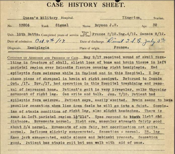 Partial screen shot of Medical Case History sheet.
