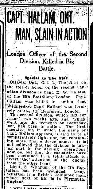 CAPT. HALLAM, ONT. MAN, SLAIN IN ACTION re hallam newspaper clipping October 1 1915