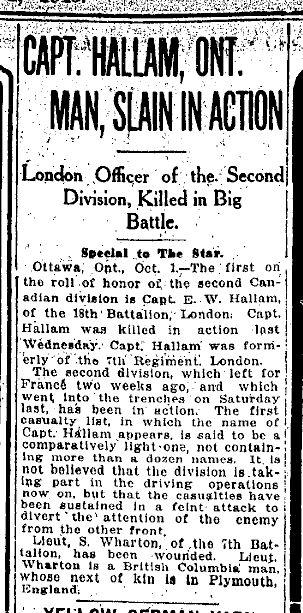 CAPT. HALLAM, ONT. MAN, SLAIN IN ACTION re hallam newspaper clipping October 1 1915