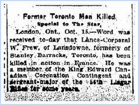 Newspaper Clipping from Toronto Star 15 October 1915
