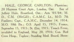 The War Memorial of Trinity College U of T Page 80 Hale