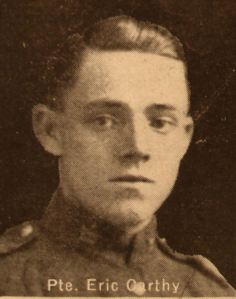 Eric Carthy aged 19: KIA December 26, 1915. Son of Joseph and Harriet Carthy, of 7, Nelson Avenue, Kitchener, Ontario.