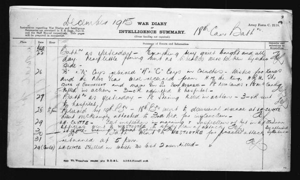 18th Battalion War Diary Entry