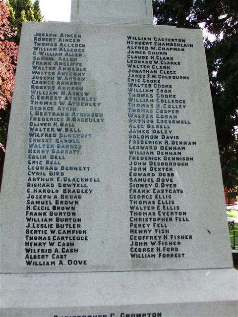 Arnold - Arnot Hill Park Memorial