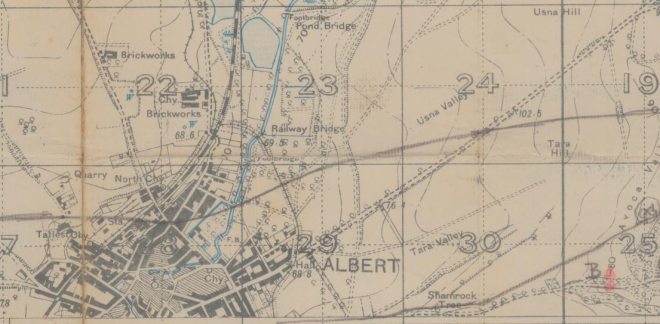 """Detail of Albert, Somme. Note the label """"Brickworks"""" to the north of town. Probable locale of the Brickfield."""