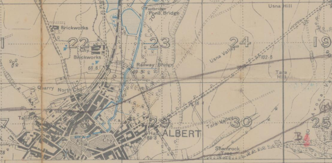 "Detail of Albert, Somme. Note the label ""Brickworks"" to the north of town. Probable locale of the Brickfield."