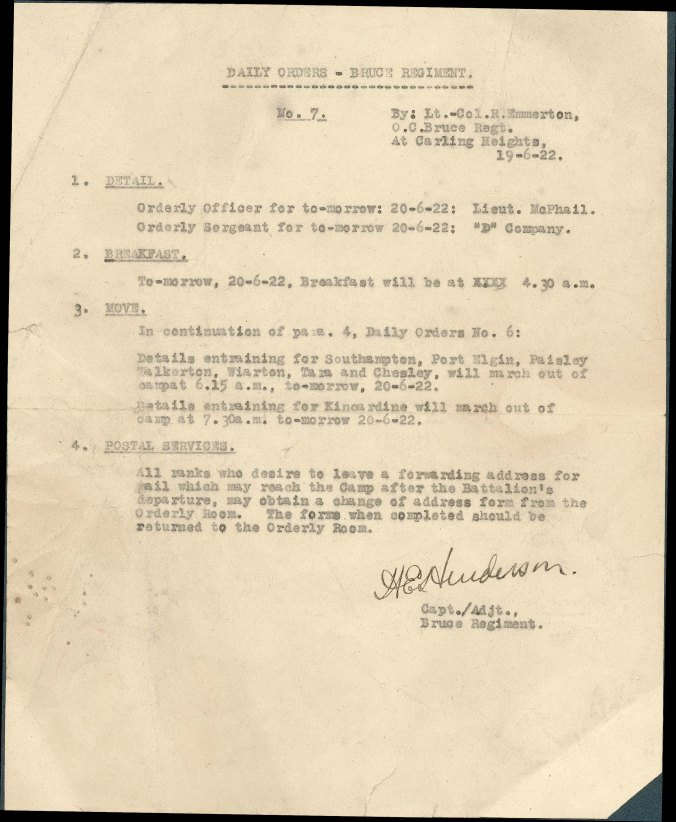 Daily Orders - Bruce Regiment - No_ 7 - By Lt_-Col. R.Emmerton 1922