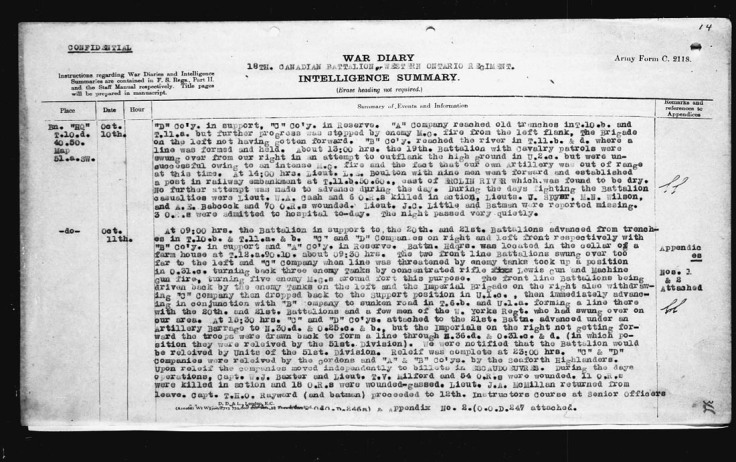 18th Battalion War Diary Entry detailing Lt. W.A. Cash K.I.A.