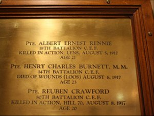 Plaque inside Soldiers Memorial Hospital at Orillia, Ontario, Canada.