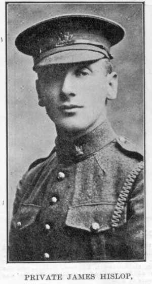 Pte. James Hislop. Note the spelling of the surname in the excerpt of the letter quoted below.