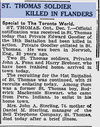 St Thomas Soldiers Killed in Flanders