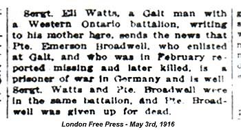 Eli Watts article London Free Presss May 3rd 1916