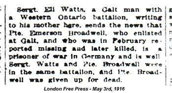 Eli Watts article London Free Presss May 3rd 1916