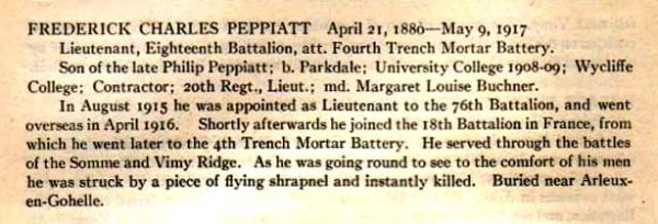 Frederick Charles Peppiatt summary of service