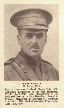 Lt. Frank Lawson, 18th Battalion from Calgary, Alberta.