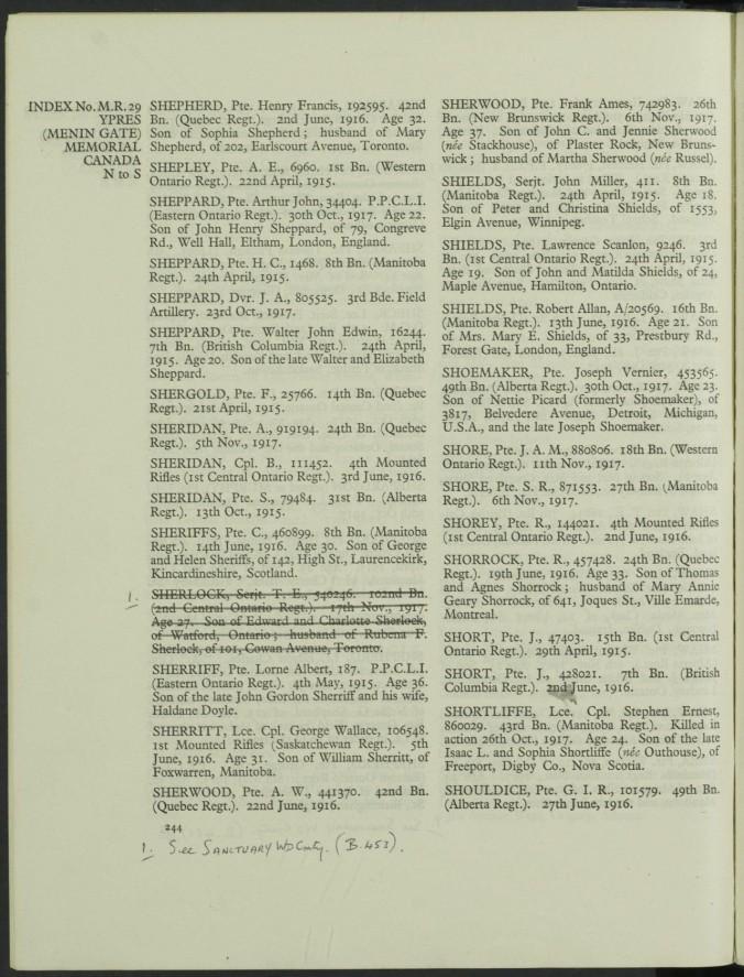 Grave Registration Document for John Arthur Murton Shore