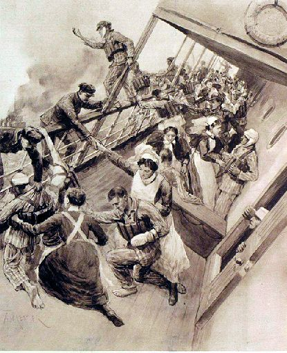 Escaping the Sinking Ship Image source Illustrated London News 27 November 1915