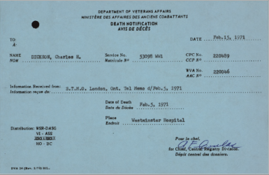 Notification of Death Veterans Affairs for Charles H Dickson