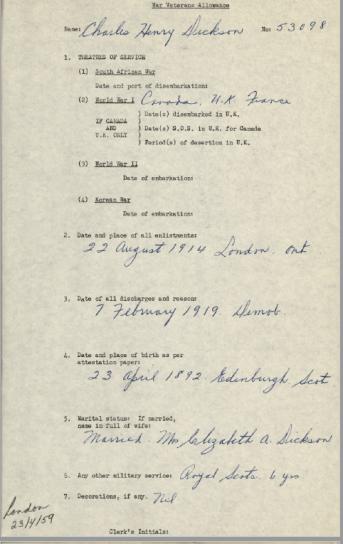 War Veterans Allowance Form Charles Henry Dickson