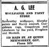Advertisement from the Newmarket Era and Express. January 8th, 1948 for the A.G. Lee Wallpaper and Paint Store