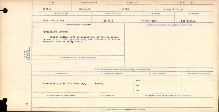 Circumstances of Death James William Mills