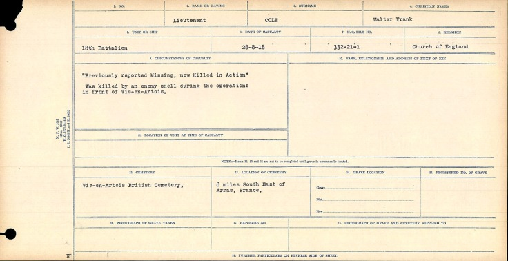 Circumstances of Death Walter Frank Cole