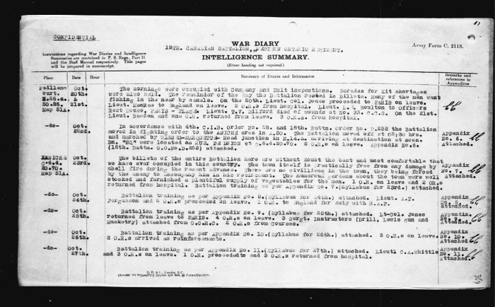 18th Battalion War Diary entry indicating that Lt. Milford died of wounds at no. 33 C.C.S.