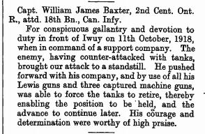 Military Cross Citation Lt William James Baxter