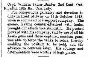 Military Cross Citation Lt William James Baxter