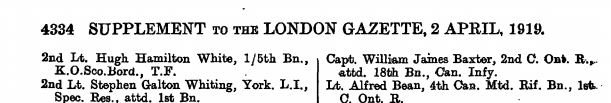Notification of MC for Lt William James Baxter