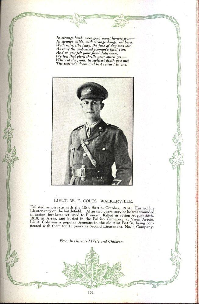 Southwestern Ontario Memorial Album Page: Note spelling of name.