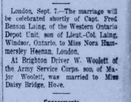 Wedding Announcment Toronto Star September 08 1917