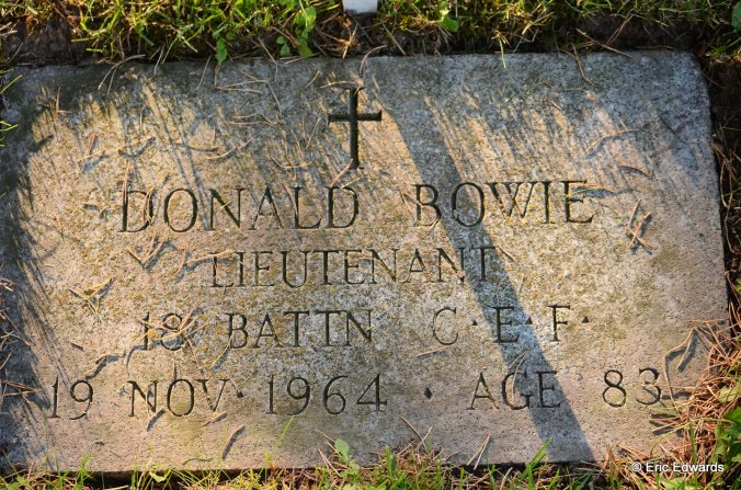 Lieutenant David Bowie, Mount View Cemetery, Cambridge, Ontario, Canada.