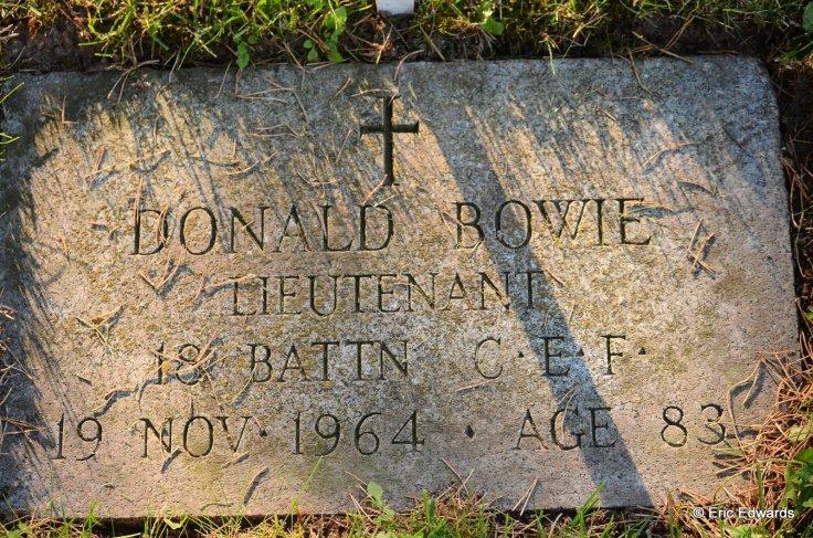 Lieutenant David Bowie, Mount View Cemetery, Cambridge, Ontario, Canada.
