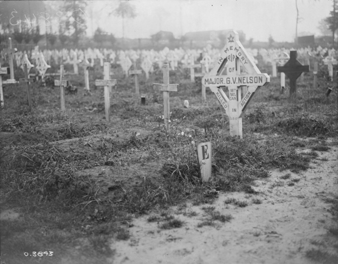 Grave of Major GV Nelson 18th Can Infantry Battalion. July 1918