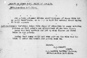 Report of action by Lieutenant Dunnett.