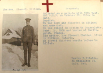 Card with information bio for Clement William Chatten