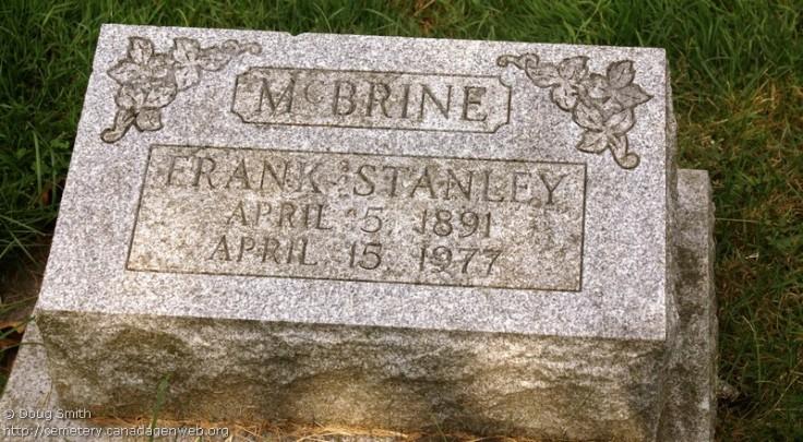 Frank Stanley McBrine, Mount Hope Cemetery, Kitchener, Ontario