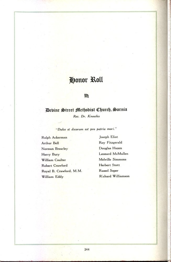 Honor Roll Devine Street Methodist Church, Sarnia Rev, Dr. Knowles