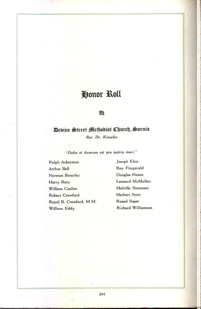 Honor Roll Devine Street Methodist Church, Sarnia Rev, Dr. Knowles