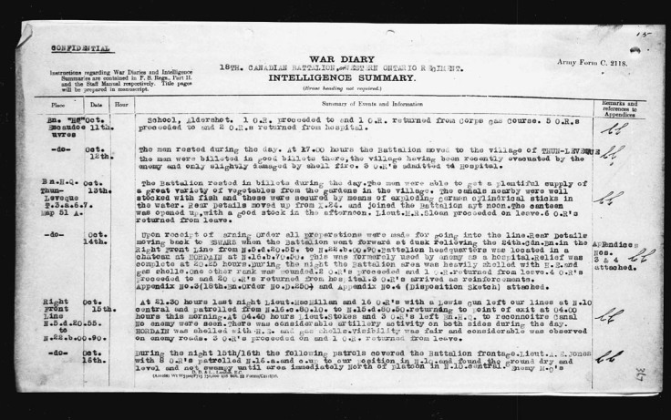 War Diary October 11 1918 page B