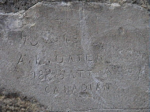 Inscription – Inscription on the wall of Bouvigny-Boyeffles north east of Arras, France. This was a Hospital and military camp in 1914 -18. Source: CVWM page.