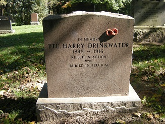 Memorial stone for Private Drinkwater.