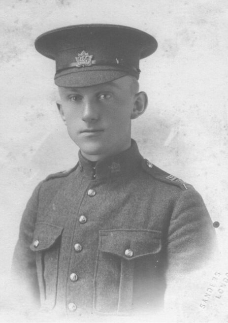 Photo of Harold John Wiese – Photo taken at London Ontario. Pte Wiese died of wounds sustained at Vimy Ridge at Number 42 Casualty Clearing Station. April 22, 1917.