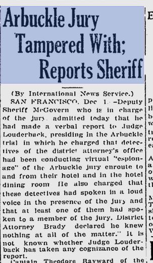 Arbuckle Jury Tampered with reports sheriff page 1 The Desert News