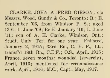 Upper Canada College Roll of Honour Entry