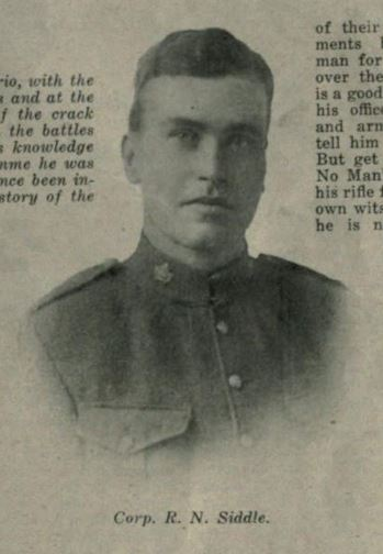 Sniper in the 18th Battalion who survived the war and wrote an extensive article about his experiences in McLean's Magazine in 1917.