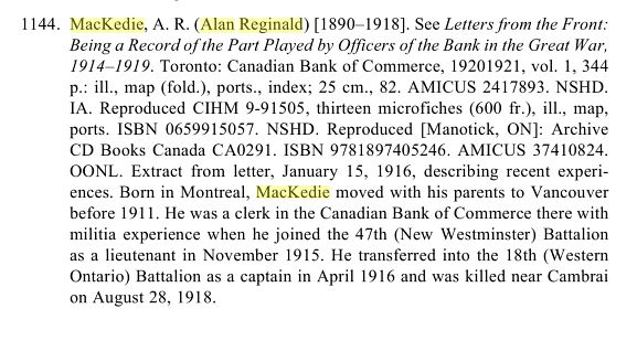 "Extract from ""The Canadian Experience of the Great War: A Guide to Memoirs"""