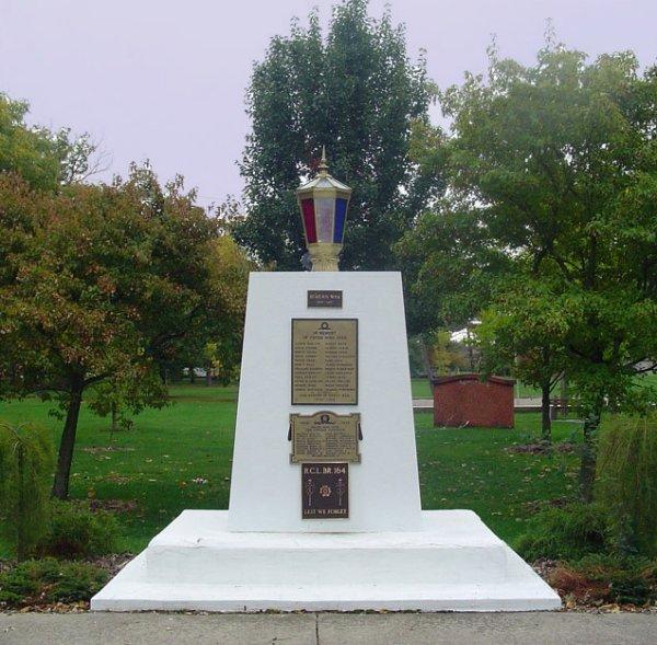 Hagersville Ontario War Memorial No Names